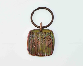 Rounded Square Copper Aspen Tree Keychain With Colorful Heat Patina, Colorado Mountain Trees Gift