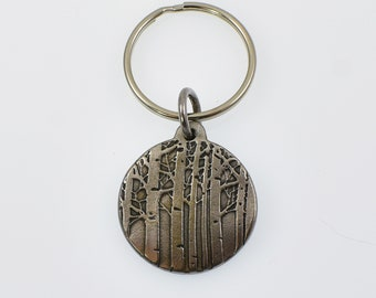 Round Rustic Metal Aspen Tree Keychain,, Colorado Mountain Trees Gift for Men