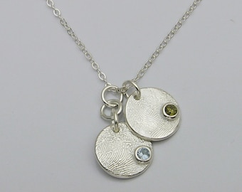 Silver Fingerprint with Birthstone Necklace, Fingerprint Jewelry, Fingerprint Necklace, Birthstone Necklace, Personalized Necklace
