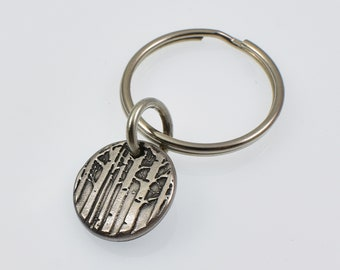 Small Round Rustic Metal Aspen Tree Keychain, Colorado Mountain Trees Gift for Men