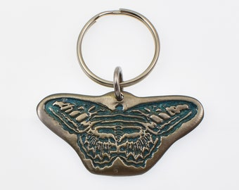 Handmade Colorful Blue Butterfly Metal Keychain, Permanent Porcelain Paint on Silver Toned White Bronze Metal