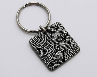 Fingerprint Keychain, Square Keychain, Rustic Metal Keychain, Fingerprint Memorial Gift, Sympathy Gift, Custom Fingerprint Gift for Men
