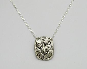 Handmade Sterling Silver Poppy Necklace, Silver Flower Necklace, Poppy Flowers, Sterling Silver Artisan Necklace, Silver and Black Necklace