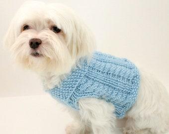 PDF DIGITAL PATTERN:Knit Dog Clothes Pattern,Knit Dog Sweater Pattern,Small Dog Sweater,Cabled Dog Sweater,Easy Dog Sweater,Puppy Clothes
