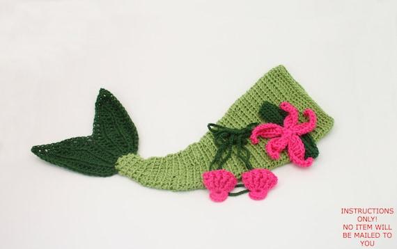 Pdf Digital Patterncrochet Baby Mermaid Clamshell Top Etsy