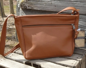 Sm. Rita style purse - Caramel color leather - made in the USA