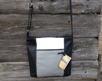Leather crossbody bag, Lg. Emily style, multi-color leather, shades of grey,  black and white leather, made in the USA