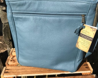 Beautiful premium blue leather Rita style, large leather  handbag, made in the USA, leather purse for spring and summer
