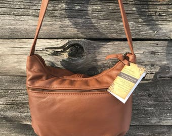 Leather Purse - Brenda Style -  Caramel color Leather- Made in Michigan, USA