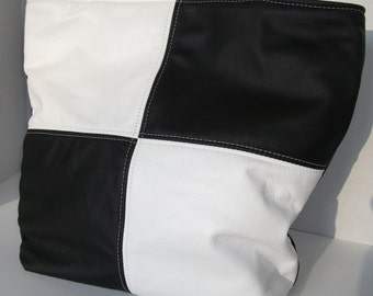 Leather Tote/Purse-Black and White Leather