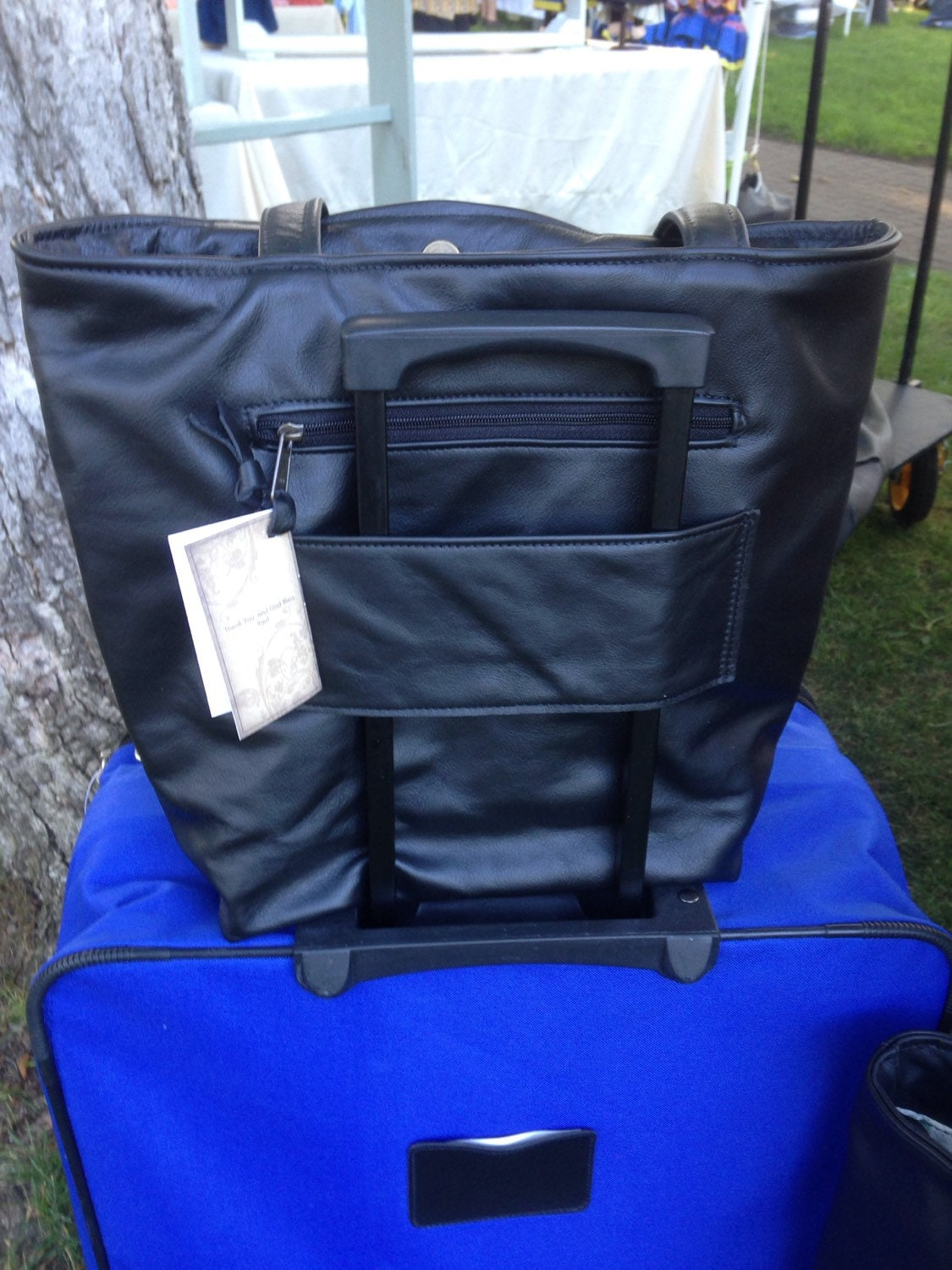00c18d44df Leather Tote Bag with Trolley Sleeve carry on bag with