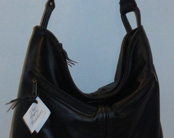 Black Leather Purse - Rachel Style -  made in the USA -other colors available