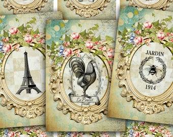 Grunge Trunk Show Teals old fashioned Clip Art DIGITAL Collage Sheet Ephemera Sheet Gift Tag,Greetings,Paper Ephemera Embellishment
