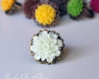 Iced Mint Chrysanthemum- adjustable lace filigree ring