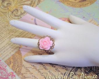 Strawberry Cream Rose adjustable ring