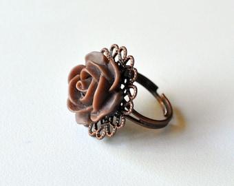 Hazelnut Coffee Rose adjustable ring