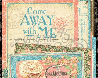 Graphic 45 Come Away With Me  Journaling and Ephemera Cards