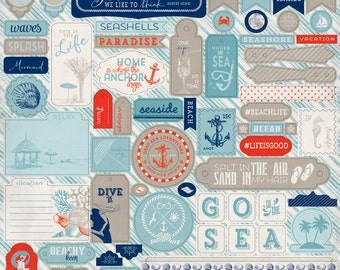 """Authentique Paper Collection """"Seaside"""" Sticker Sheet"""