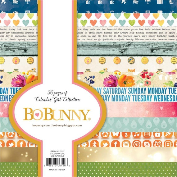 BoBunny 12x12 Scrapbooking paper August 2 sheets Calendar Girl Collection