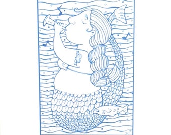 Whimsical Blue Mermaid Print by Suzanne Urban