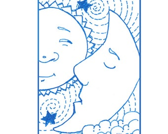 Whimsical ACEO Print of Sun, Moon, Wall Decor, ATC