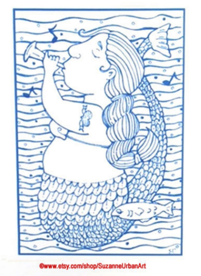 Whimsical Blue Mermaid Print by Suzanne Urban image 0