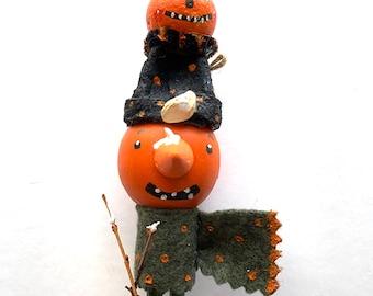 Halloween Pumpkin Clothepin Doll Handpainted Holiday Mantel Decor Ehag Artist