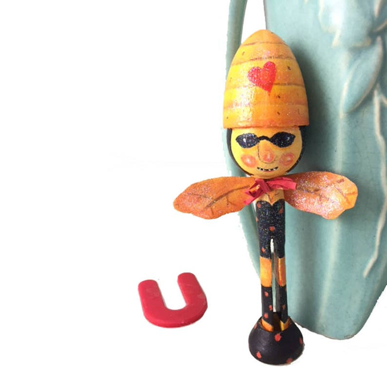 Handpainted Bee Wood Clothespin Decorative Art for Bee Lover image 0