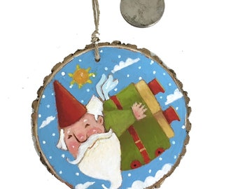 Whimsical Handpainted Garden Gnome Xmas Ornament on Woodslice, by SuzanneUrbanArt