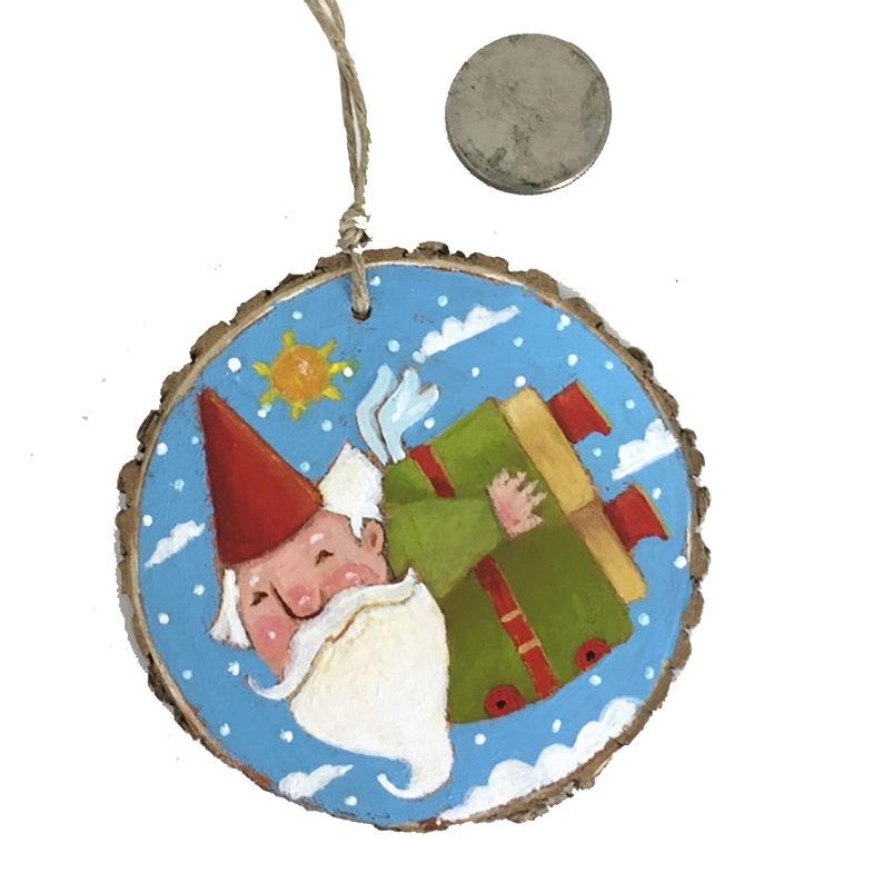 Whimsical Handpainted Garden Gnome Xmas Ornament on Woodslice image 0