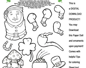 Digital Download Printable of Dancing Leprechaun Paper Doll and ornaments for your St Patty's Day Tree!