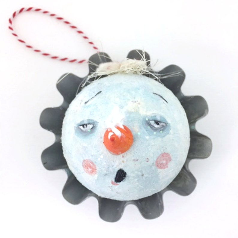 Whimsical Handpainted Snowball Ornament Mixed Media Ornament image 0