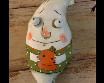 Whimsical Handpainted Halloween Ghost Ornament by Ehag Artist Suzanne Urban