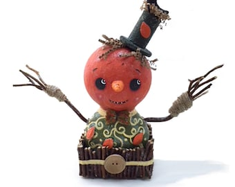 Primitive Pumpkin Head Shelf Sitter, Handmade Halloween Home Decor