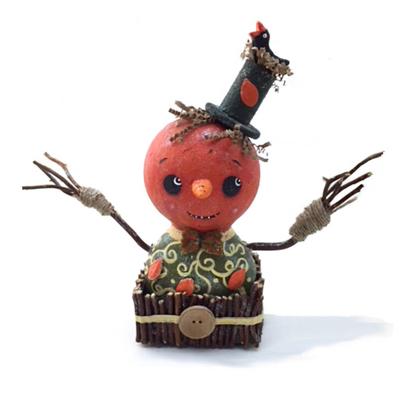 Primitive Pumpkin Head Shelf Sitter Handmade Halloween Home image 0