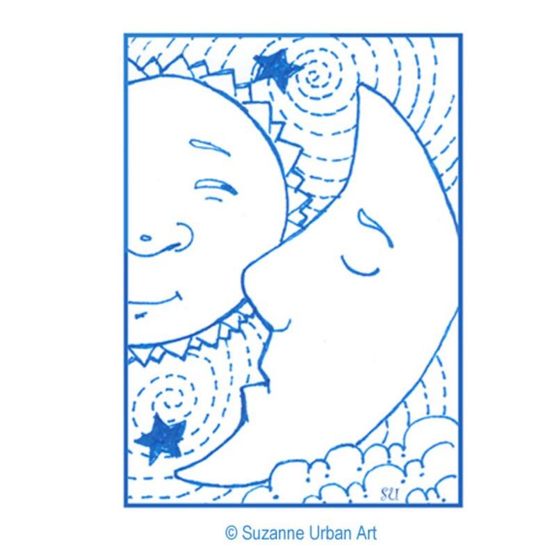 Whimsical ACEO Print of Sun Moon Wall Decor ATC image 0