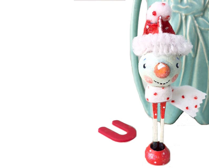 Handpainted Wood Clothespin  Wood Peg Doll Snowman Whimsical image 0