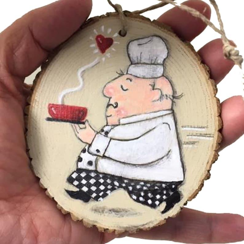 Charming Handpainted Chef on Woodslice Ornament Valentine image 0