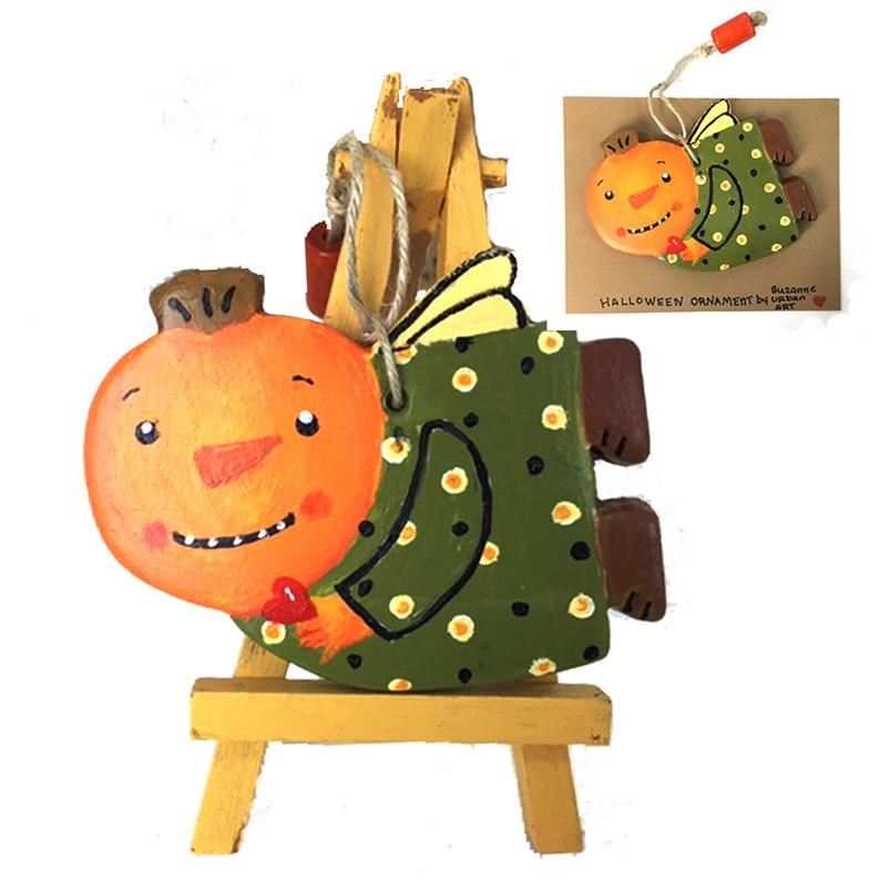Handpainted Halloween Pumpkin Head Ornament-FREE Shipping in image 0