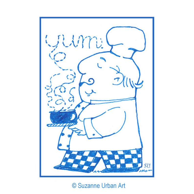 Aceo Print Whimsical Chef for Kitchen Decor image 0