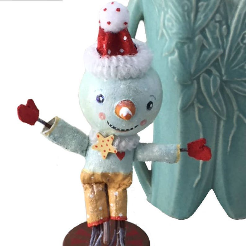 Whimsical Primitive Snowman Mantle Decor Handmade by image 0