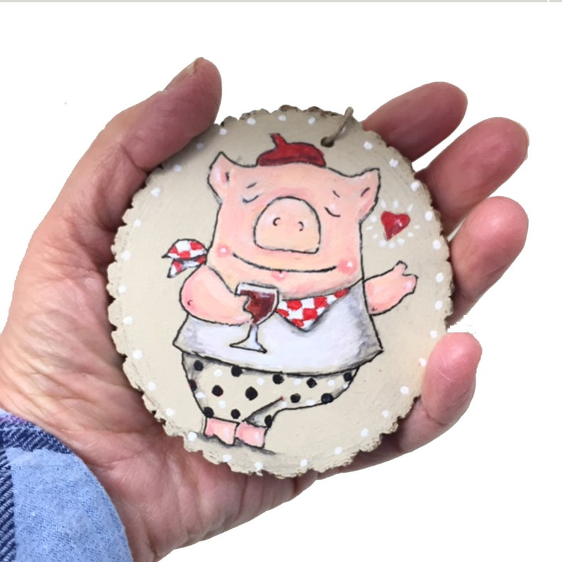 Handpainted Valentine Pig Woodslice Ornament Whimsical Art image 0