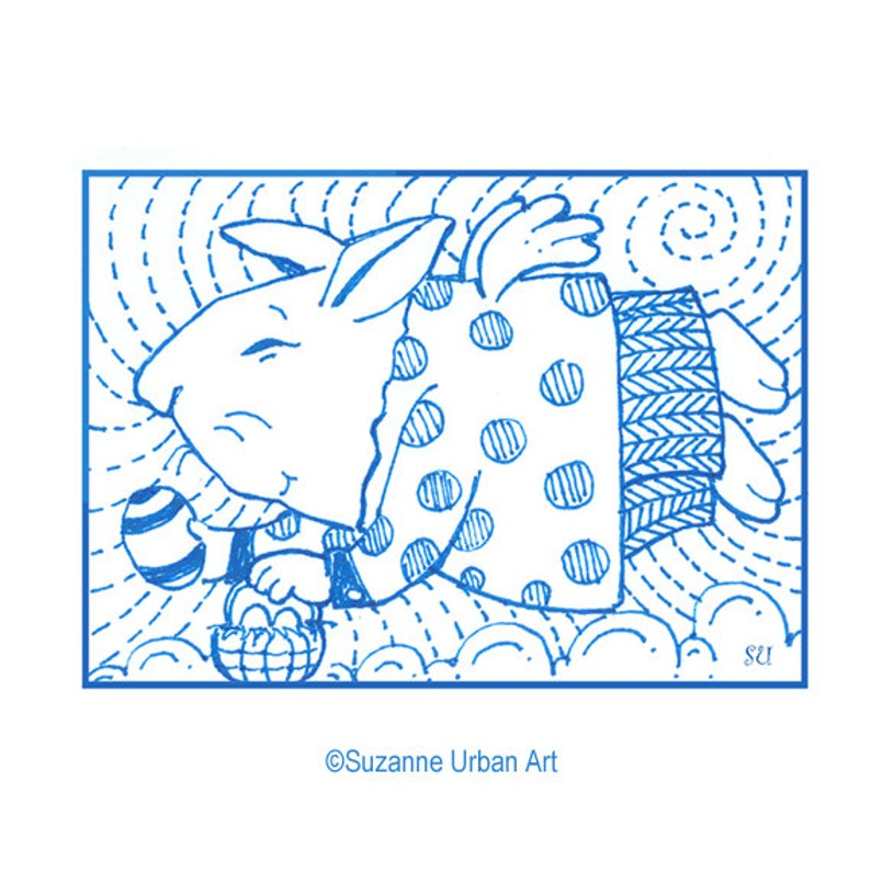 Whimsical Rabbit ACEO size Print by SuzanneUrbanArt image 0