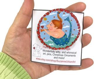 Handpainted Woodslice Mermaid Brooch, Whimsical Pin Signed by Artist