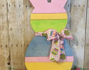 Wood Easter Bunny - Self-Standing Easter Bunny - Porch Easter Decor - Personalized Easter Bunny - Colorful Wood Easter Bunny
