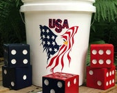 Yardzee Yard Dice Games - USA Patriotic - Outdoor Lawn Games - Lawn Dice - Yahtzee - Customize Your Theme