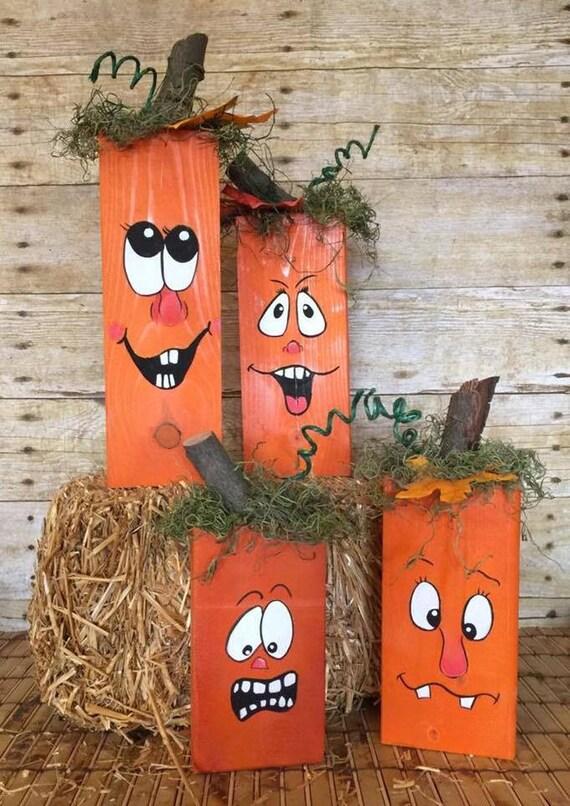 Mano de madera calabazas calabazas pintadas ca da decor etsy - Calabazas de halloween pintadas ...