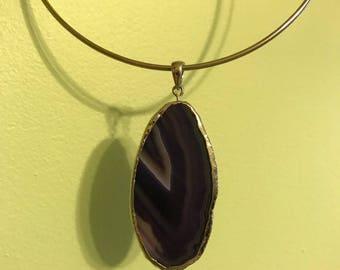 Natural Purple Crystal Shard Pendant