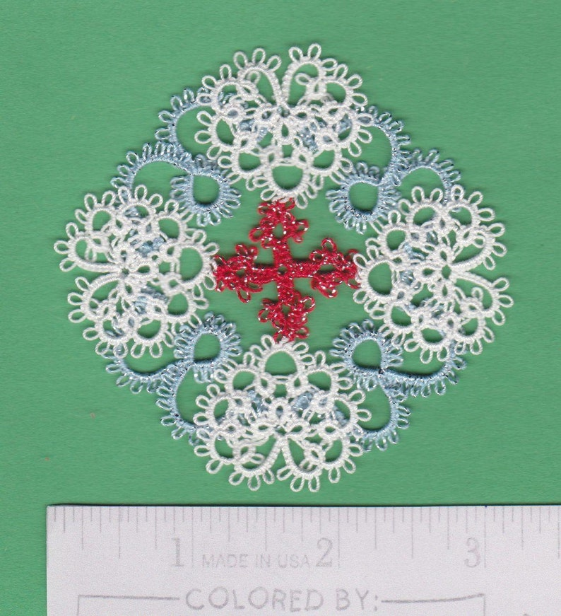 Christening tatted lace Baptism First Communion approx 3 LOVE  of  GOD Cross   CHRISTMON  in Tatting Handmade Lace Christmas ornament