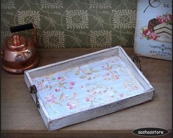 Miniature dollhouse tray, shabby chic miniature, kitchen accessory, aged wood